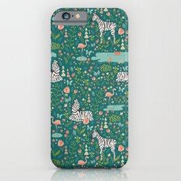 Wild Zebras in Green Garden iPhone Case