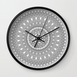 Black and White Feather Mandala Boho Hippie Wall Clock