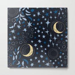 Moon Among the Stars - Stars At Night Version Metal Print