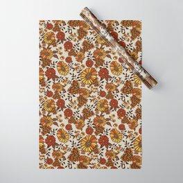Retro 70s boho hippie orange flower power Wrapping Paper