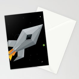 Cute Metal Rocket Ship Stationery Cards