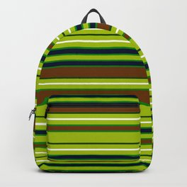 Forest Hues at Midnight - Horizontal Stripes Green Brown Blue and White Striped Backpack