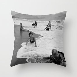 Bathing Woman in Vietnam - analog Throw Pillow