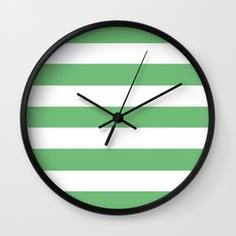 Iguana green - solid color - white stripes pattern Wall Clock