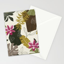 Cut Out Collage Tropical Print in Green, Brown & Pink. Stationery Cards