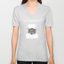 Cat Person Chef Funny Foodie Cat Lover Unisex V-Neck