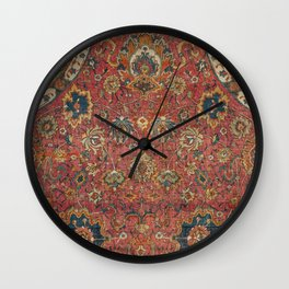 Persian Medallion Rug IV // 16th Century Distressed Red Green Blue Flowery Colorful Ornate Pattern Wall Clock