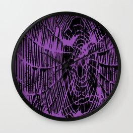 Intricate Halloween Spider Web Purple Palette Wall Clock