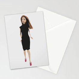 Abstract Paper Doll in Black Stationery Cards