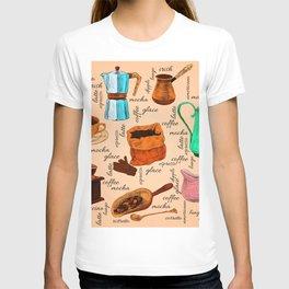 Coffee elements hand-drawn T-shirt
