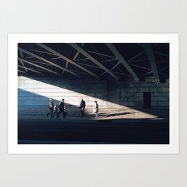 Under bridge light Art Print