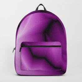 Crisp lines of pink lightning zigzag a triangular gap. Backpack
