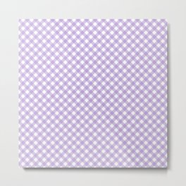 Checkered Lilac Gingham Metal Print