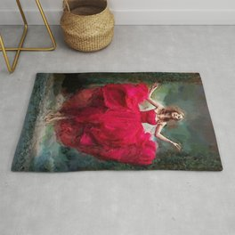 Lady in red portrait painting bedroom wall decor Rug