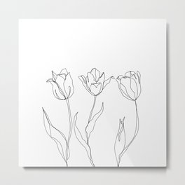 Botanical illustration line drawing - Three Tulips Metal Print