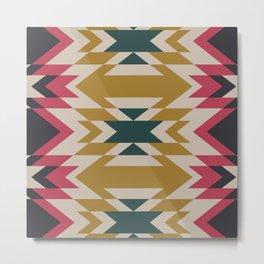 Bohemian Style Geometric Pattern Metal Print
