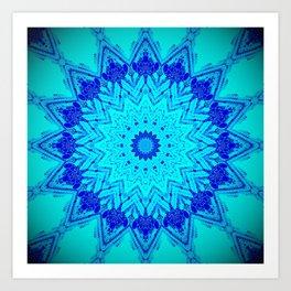 Bright blue turquoise Mandala Design Kunstdrucke