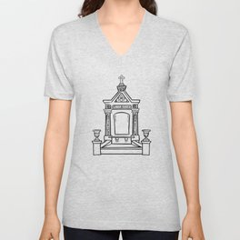 Single Tomb White  Unisex V-Neck