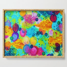 TIME FOR BUBBLY - Colorful Bright Bold Abstract Acrylic Painting, Turquoise Royal Blue Magenta Serving Tray