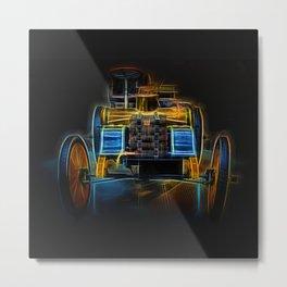 Fractal Car Neon Light Metal Print