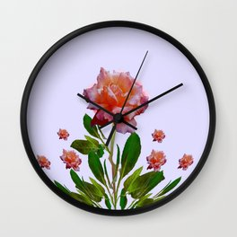 GREEN COLOR   CORAL  PINK ROSES BOTANICAL ART Wall Clock