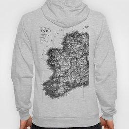 Vintage Black and White Ireland MAp Hoody