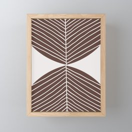 Minimal Tropical Leaf - Earth Brown Framed Mini Art Print
