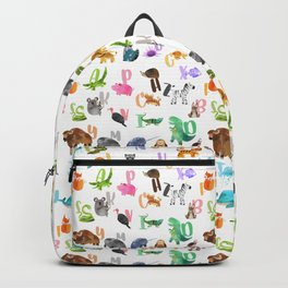Cute Watercolor Animal Alphabet Pattern Backpack