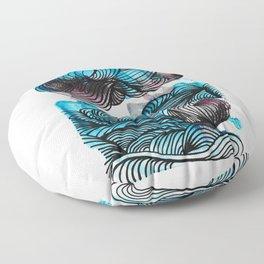 Watercolor Mono Print with Ink Swirls Floor Pillow