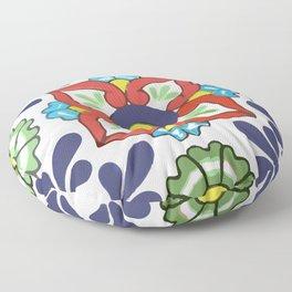 Talavera Mexican Green Floral Floor Pillow