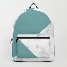diagonal tiles marble green pattern Backpack