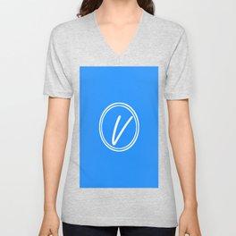 Monogram - Letter V on Dodger Blue Background Unisex V-Neck