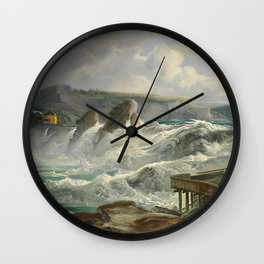 The Rhine Waterfalls, Switzerland landscape painting Christian Morgenstern Wall Clock
