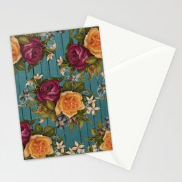 Vintage green wood coral burgundy roses floral Stationery Cards
