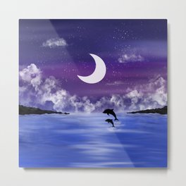 night time seascape with jumping dolphins Metal Print