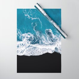 Black sand beach with waves and blue Ocean in Iceland – Minimal Photography Wrapping Paper