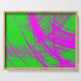 Intersecting fibers of light threads with pistachio energy of futuristic abstraction. Serving Tray