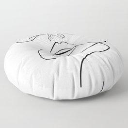Monoline woman face Floor Pillow