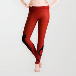 Red Gracious Evil Black Cat Leggings