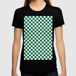 White and Cadmium Green Checkerboard T-Shirt