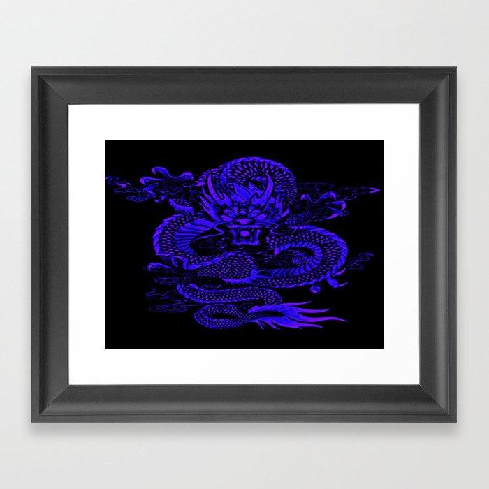 Epic Dragon Blue Gerahmter Kunstdruck