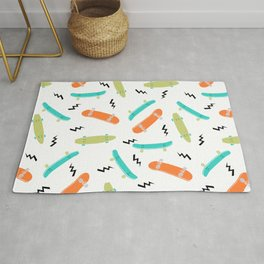 Skateboards orange and green pattern great decor for nursery kids rooms boys and girls Rug
