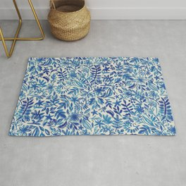 Floating Garden - a watercolor pattern in blue Rug