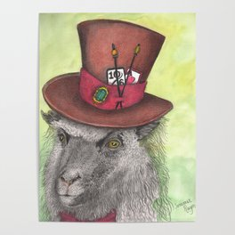 Wise sheep wearing a top hat Poster