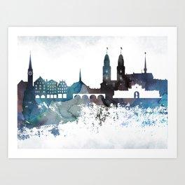 Zurich Bluish Skyline Art Print