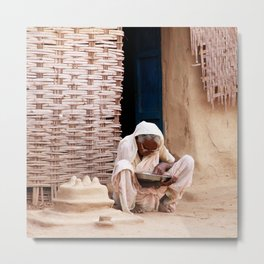 Enjoy your meal | Old lady sitting, India | Fine art travel photography Metal Print