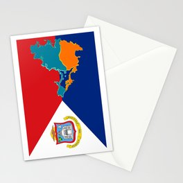Sint Maarten Flag with Map Stationery Cards