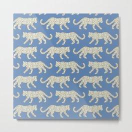 Kitty Parade - Mint on Denim Blue Metal Print