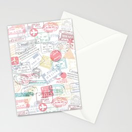 Passport Stamps Stationery Cards