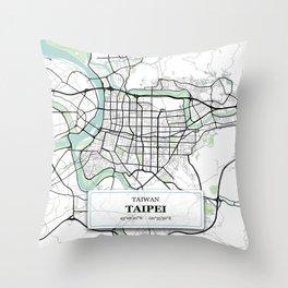Taipei Taiwan City Map with GPS Coordinates Throw Pillow
